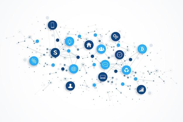 Internet de las cosas iot y vector de diseño de concepto de conexión de red. concepto digital inteligente