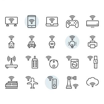 Internet de las cosas relacionadas con el conjunto de iconos de línea delgada