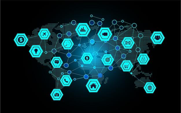 Internet de las cosas de la tecnología cibernética mundial