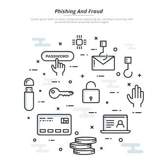 Internet cyber ataques, phising y fraude heck concepto, estilo plano. fin-tecnología (tecnología financiera) de fondo.