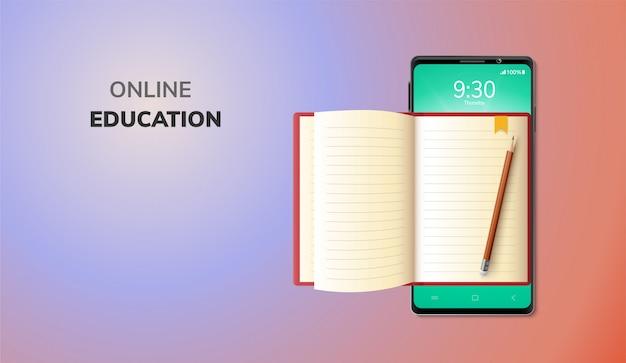 Internet de educación digital en línea y espacio en blanco en el teléfono, fondo de sitio web móvil. concepto de distancia social decoración por libro de lectura lápiz. ilustración