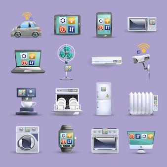 Internet de iconos planos de cosas establecido