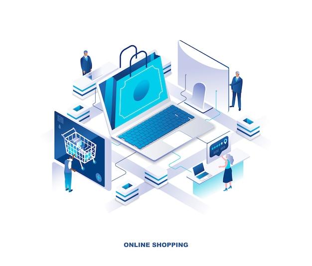 Internet o compras en línea, concepto isomérico del servicio minorista digital