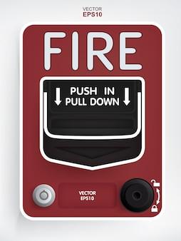Interruptor de alarma contra incendios sobre fondo blanco.
