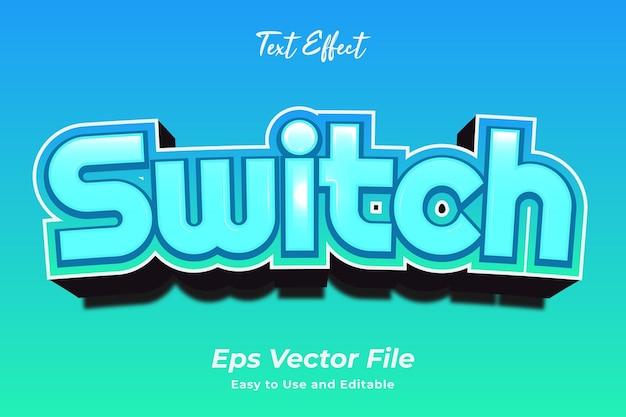 Interruptor de efecto de texto editable y fácil de usar vector premium