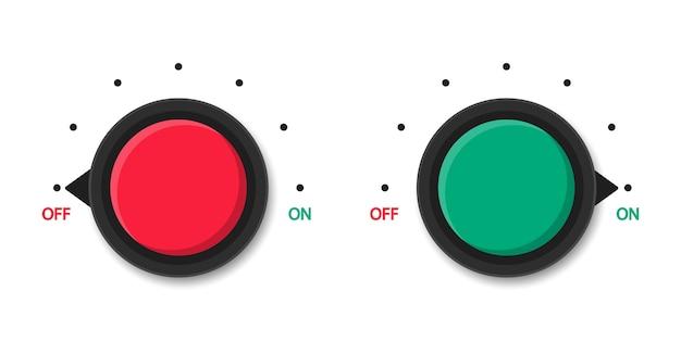 Interruptor de encendido y apagado. botones redondos rojos y verdes. medidor de escalas. niveles de potencia. calibre.