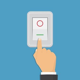 Interruptor de palanca. concepto de control eléctrico. mano encendiendo la luz