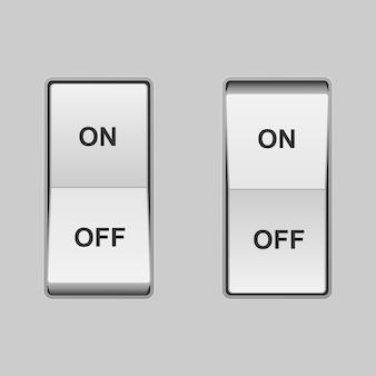 Interruptor de palanca realista. posiciones dentro y fuera