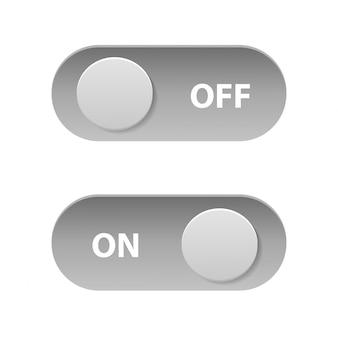 Interruptores de palanca realistas de encendido / apagado para decoración. colección de ilustración de vector de deslizadores de tecnología.