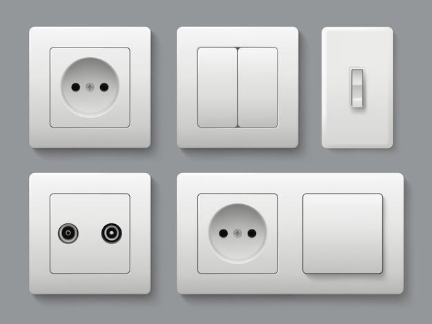 Interruptores de toma de corriente. plantilla realista de interruptores eléctricos de cambio de casa