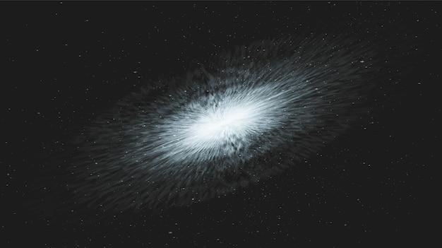 Interstella azul suave sobre fondo de galaxia con espiral de la vía láctea