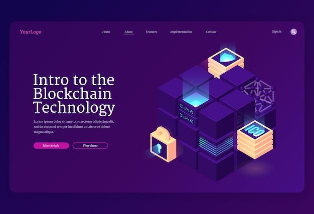 Introducción a la página de inicio isométrica de la tecnología blockchain.