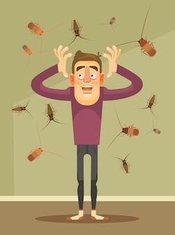 Invasión de cucarachas. carácter de hombre asustado. ilustración de dibujos animados