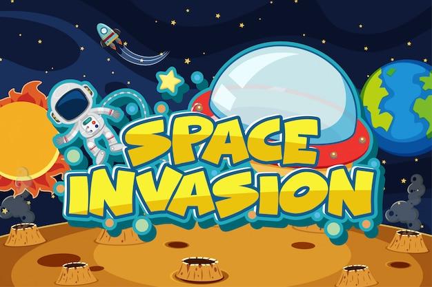Invasión espacial con astronauta volando en el espacio