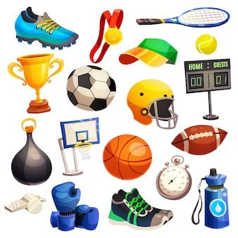 Inventario deportivo conjunto de iconos decorativos