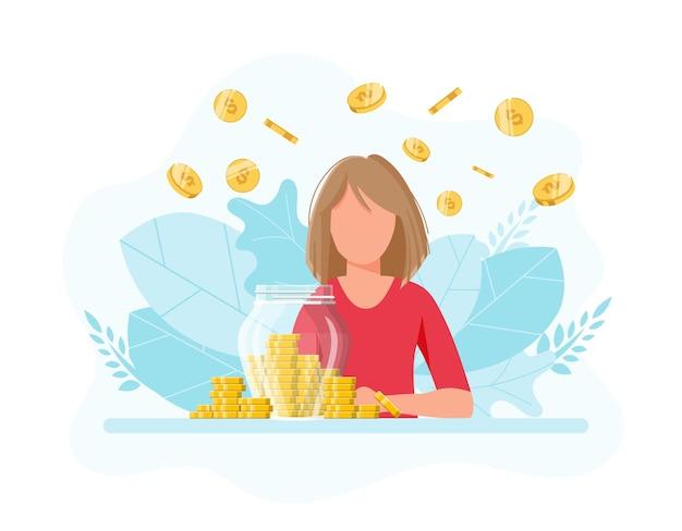 Inversión de ahorro de ingresos de crecimiento chica con frasco lleno de dinero ahorro de dinero