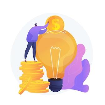 Inversión de capital, patrocinio. donación de dinero, financiación inicial, apoyo financiero. elemento de diseño de filantropía. inversor poniendo dinero en bombilla.