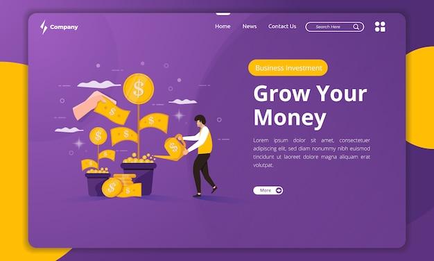 Inversión de dinero empresarial de diseño plano en plantilla de página de destino