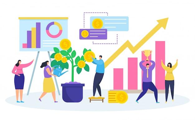 Inversión empresarial, dibujos animados de pequeñas personas que riegan dinero planta de árbol, invertir, aumentar la riqueza en blanco