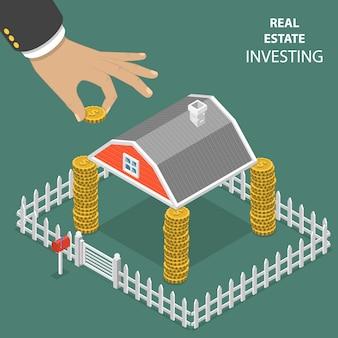 Inversión inmobiliaria plana isométrica.