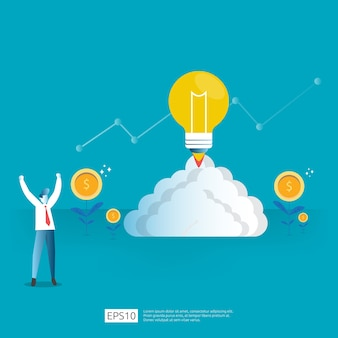 Inversión inteligente en puesta en marcha de tecnología. analítica de negocios inversionista ángel. concepto de investigación de idea de oportunidad con bombilla de luz y elemento de carácter de empresario.