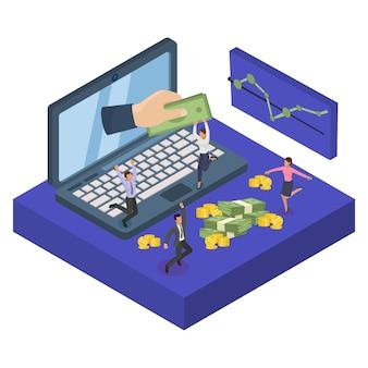 Inversión de internet de las finanzas de la puesta en marcha del negocio, ilustración. gran mano de pantalla con dinero financiero. inversor informático