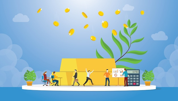 Inversión en oro con lingotes de oro y ganancias de monedas con un árbol en crecimiento y un diagrama de gráfico que regresa con estilo moderno