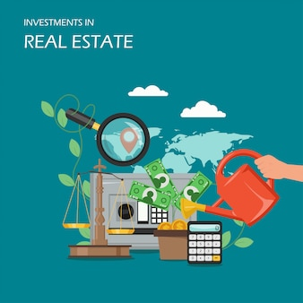 Inversiones en bienes raíces ilustración plana