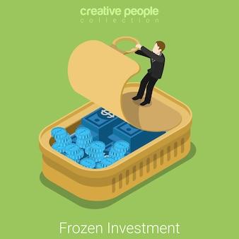 Inversiones congeladas activos isométrica plana.