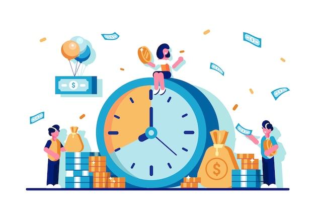 Inversiones. el tiempo es ilustración de dinero en estilo plano