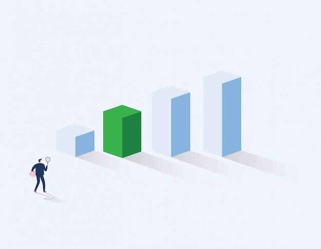 Inversor. empresario en busca de oportunidad de inversión de pie en el gráfico de crecimiento