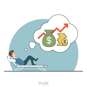 Inversor plano lineal sueña con ganancias acostado en un sillón reclinable. bolsa de dinero, monedas y personajes de empresario. concepto de inversiones empresariales.