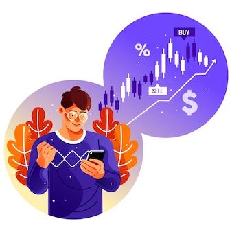 Inversor que usa la aplicación de negociación de acciones en un teléfono inteligente