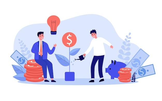 Inversores obteniendo ganancias de dinero
