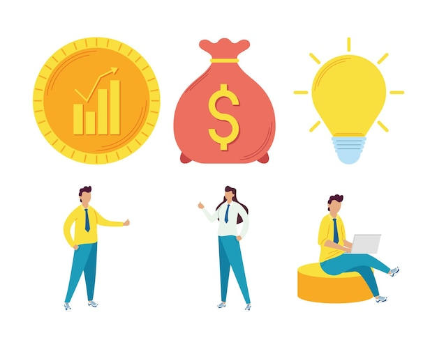 Invertir dinero seis set iconos
