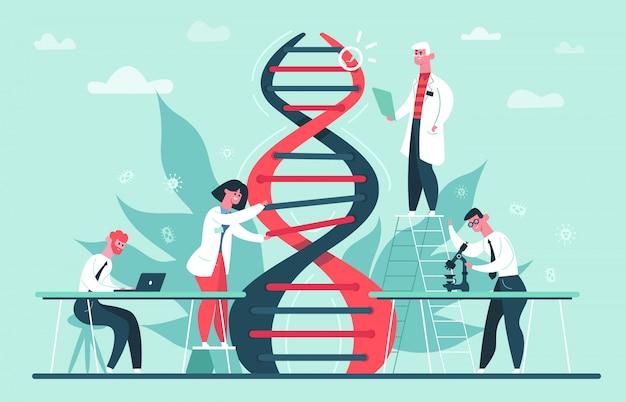 Investigación en adn genético. el genoma de laboratorio y las investigaciones científicas del código de adn, el profesor científico gen edita la ilustración. adn de investigación, laboratorio de biotecnología, gen médico