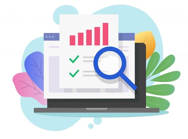 Investigación de auditoría financiera en computadora