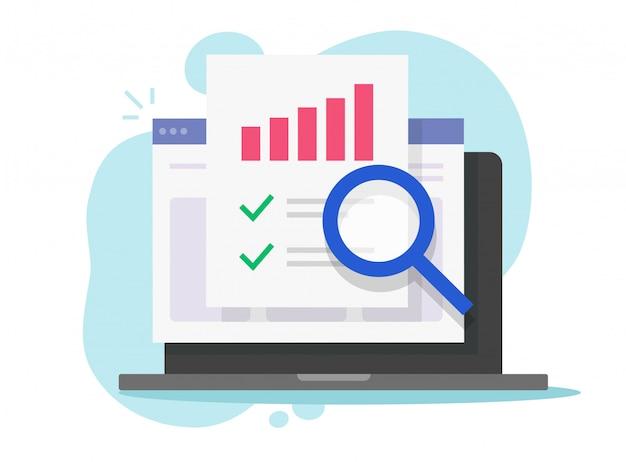 Investigación de auditoría financiera en línea en computadora portátil o análisis web o informe digital analítico