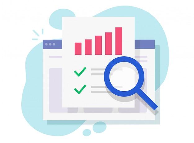 Investigación de auditoría financiera en línea en la página web de internet o análisis electrónico y análisis electrónico informe plano