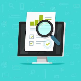 Investigación de auditoría o informe de impuestos financieros en papel plano de dibujos animados de ilustración de computadora