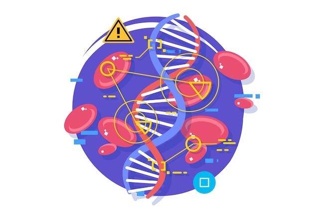 Investigación celular y detección de enfermedades. células sanguíneas y virus. investigación en el campo de la medicina y la biología.