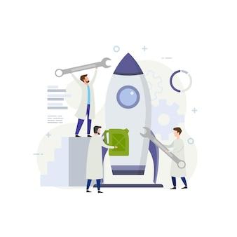 Investigación y desarrollo del concepto de diseño de fabricación de cohetes.