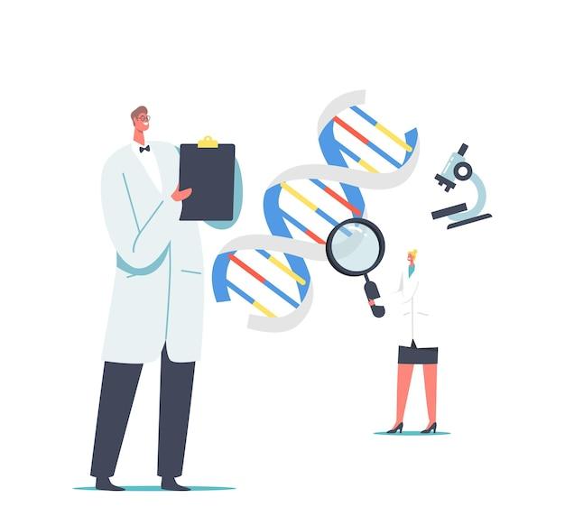 Investigación y desarrollo de laboratorio. pruebas genéticas de la tecnología de la medicina. personajes de científicos que trabajan con adn mirando a través de lupa tomando notas. ilustración de vector de gente de dibujos animados