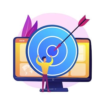 Investigación empresarial de grupos focales. planificación de la estrategia rentable de la empresa de análisis de datos. diana en el monitor de la computadora. metas y logros corporativos.