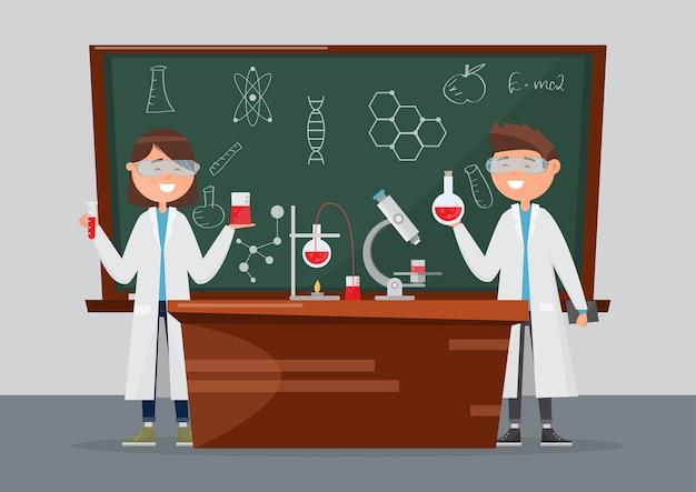 Investigación escolar en química y ciencia.