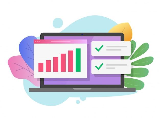 Investigación financiera o auditoría de estadísticas de datos de ventas fiscales en computadora portátil