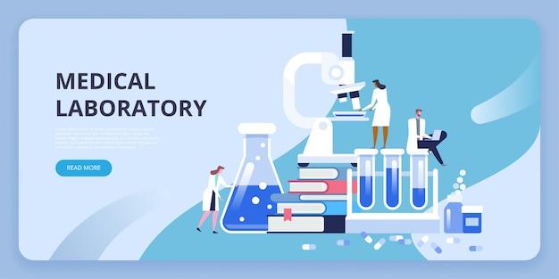Investigación de laboratorio médico con microscopio, tubo de ensayo de vidrio de ciencia, libros y píldoras.
