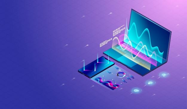 Investigación de marketing de negocios en portátiles
