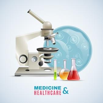 Investigación médica médica cuidado plano composición cartel