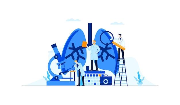 Investigación del médico de la ilustración plana de la enfermedad de los pulmones para el diseño del concepto del tratamiento